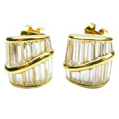 Kurt Wayne Baguette Diamond Gold Stud Earrings