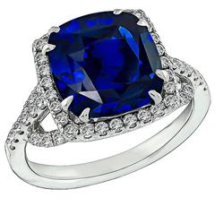 Natural 5.16 Carat Cushion Cut Sapphire Diamond Gold Ring