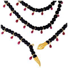 Fern Freeman Ruby Matte Onyx Diamond Gold Rattlesnake Necklace
