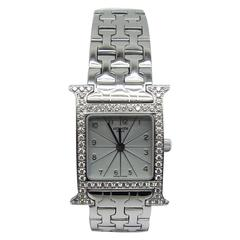 Hermes Lady's White Gold Diamond Heure H Quartz Wristwatch