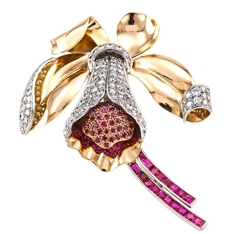 Retro Orchid Ruby and Diamond Brooch For Sale