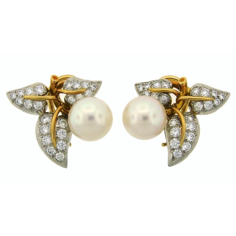 1970s Tiffany & Co. Schlumberger Pearl Diamond Gold Platinum Earrings 1