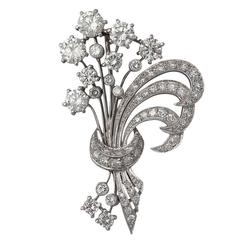 4.98Ct Diamond and Platinum Flower Spray Brooch / Pendant - Vintage Circa 1950