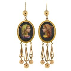 Victorian Painted Egyptian Nekhbet Queen Earrings