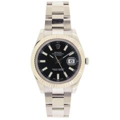Rolex Stainless Steel Black Dial Datejust Automatic Wristwatch Ref 116334