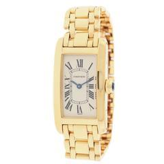 Cartier Yellow Gold Tank Americaine Quartz Wristwatch Ref 1710