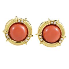 Tiffany & Co. Coral Diamond Gold Clip-On Earrings