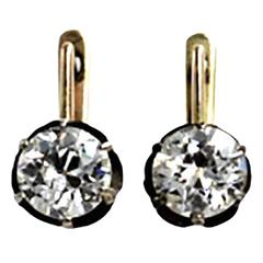 Victorian 3.14 Carats Old European Cut Diamonds Gold Earrings
