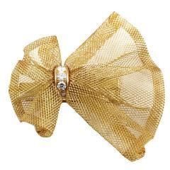 Van Cleef & Arpels Diamond Gold Bow Pin