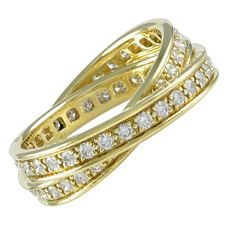 Cartier Diamond Gold Two Band Ring For Sale