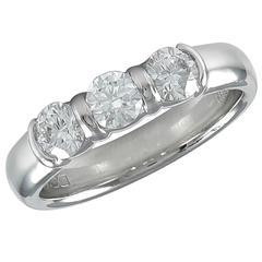 Tiffany & Co. Three Stone Diamond Platinum Ring