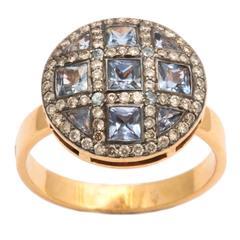 Unique Square Sapphire Diamond Orange Gold Ring