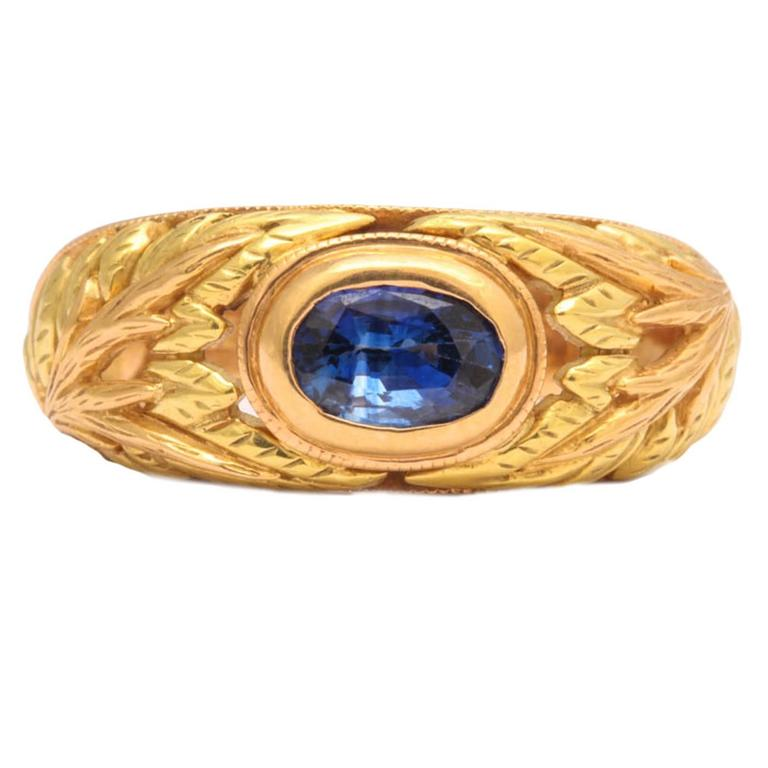 Sapphire Two Color Gold Ring