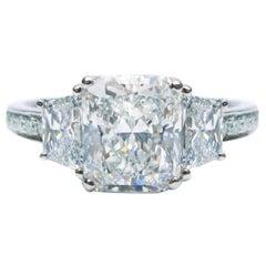 Internally Flawless 3.07 Carat Radiant Diamond Platinum Engagement Ring GIA