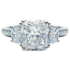 Internally Flawless 3.07 Carat Radiant Diamond Platinum Engagement Ring GIA