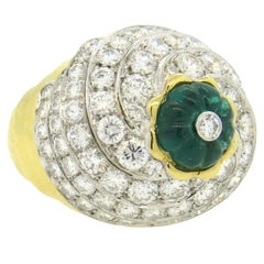 Impressive David Webb Gold Platinum Diamond Carved Emerald Ring