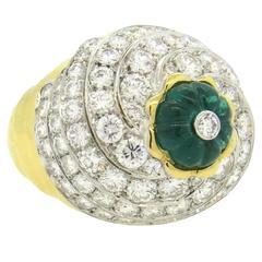 Impressive David Webb Gold Platinum Diamond Carved Emerald Ring