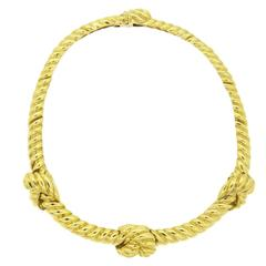 Classic David Webb Gold Knot Necklace