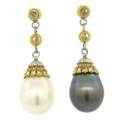 Fine Buccellati South Sea Pearl Rose Cut Diamond Gold Drop Earrings