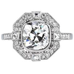 Art Deco Cushion Cut Diamond Platinum Engagement Ring