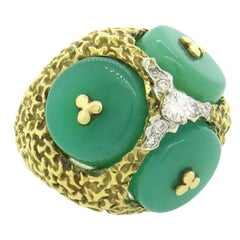 1970s Large Chrysoprase Diamond Gold Dome Ring