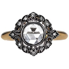 Beautiful Brown Diamond Silver Gold Engagement Ring
