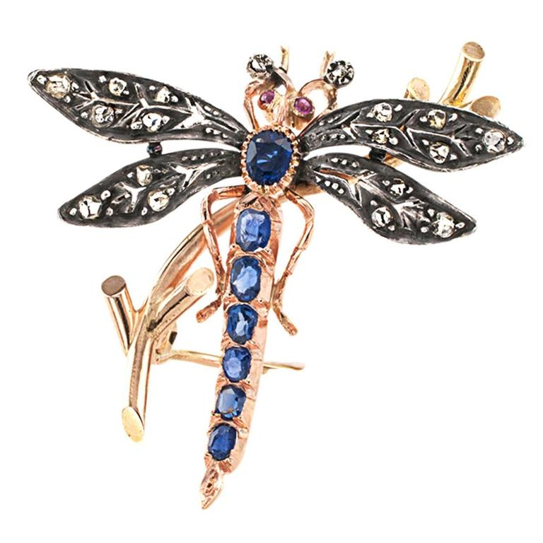 Victorian Ruby Sapphire Diamond Silver Gold Dragonfly Brooch 1