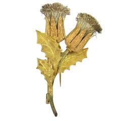 Classic Mario Buccellati Gold Thistle Brooch Pin