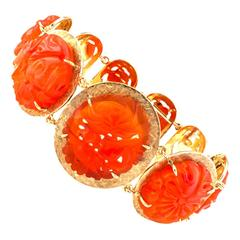 Carved Carnelian Gold Bracelet