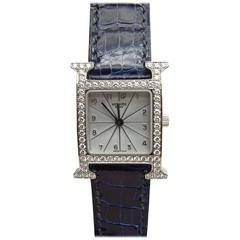 Hermes Ladies White Gold Diamonds Heure H Quartz Wristwatch