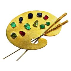 Large Exceptional Multi Gemstone Gold Artist Pallet Pin with Brushes