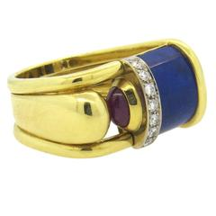 Modern Gold Lapis Diamond Ruby Ring