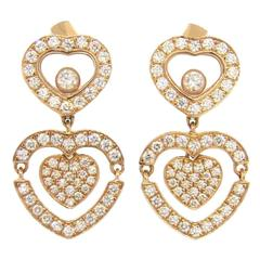 Chopard Happy Amore Floating Diamond Gold Heart Earrings