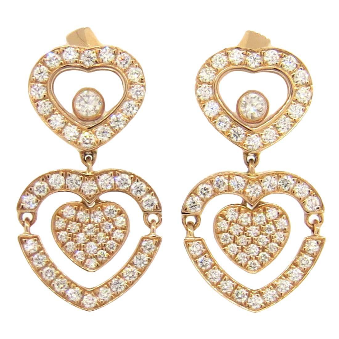 Chopard Happy Amore Floating Diamond Gold Heart Earrings