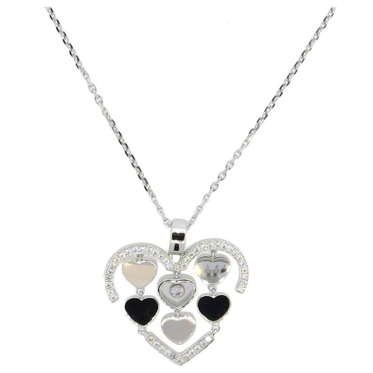 Chopard Happy Amore Floating Diamond Gold Heart Pendant Necklace