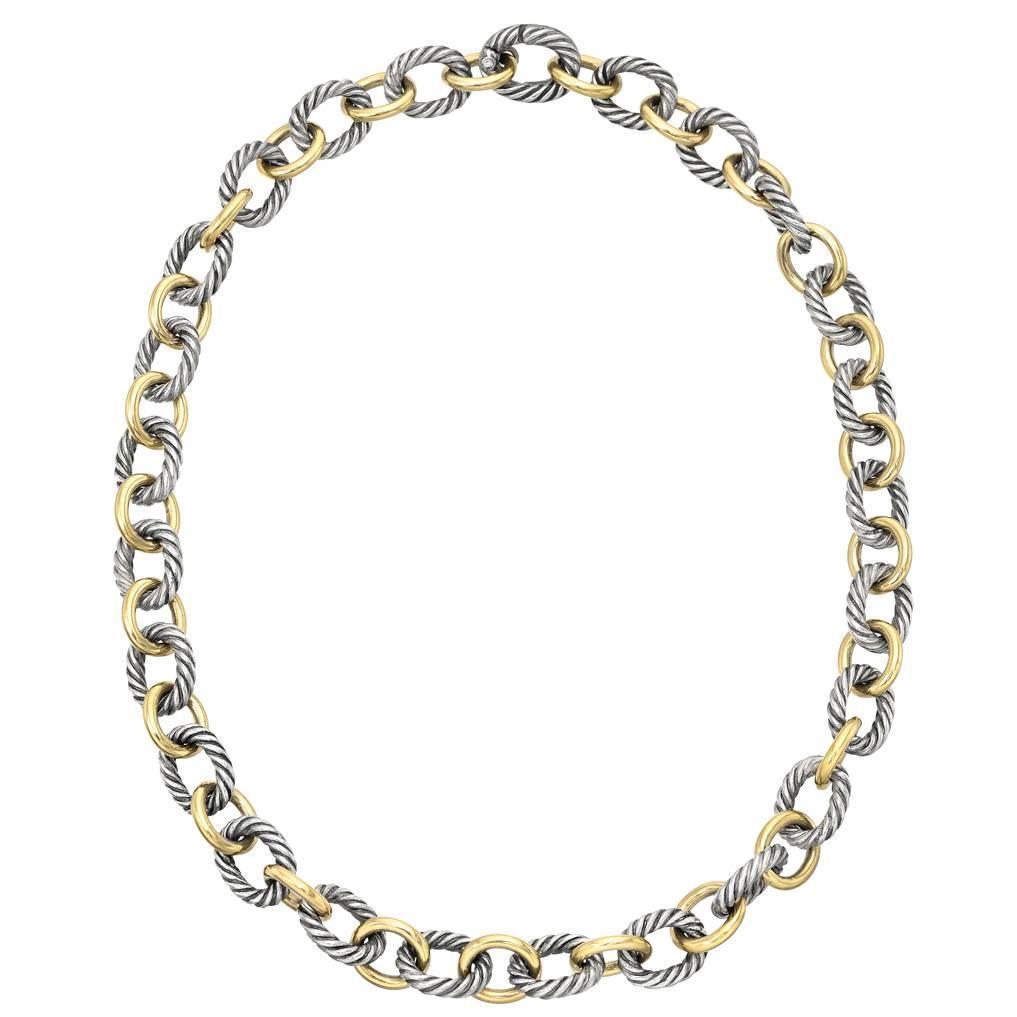david yurman gold silver link necklace at 1stdibs