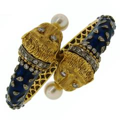 1970s Zolotas Blue Enamel Pearl Diamond Gold Chimeras Bangle Bracelet
