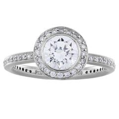 1.09 Carat Round Brilliant Cut Diamond Platinum Engagement Ring