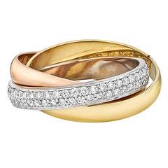 Cartier Small Diamond Tricolored Gold Trinity Ring