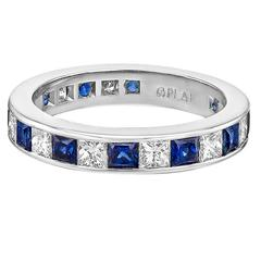 Channel-Set Sapphire Diamond Platinum Eternity Band