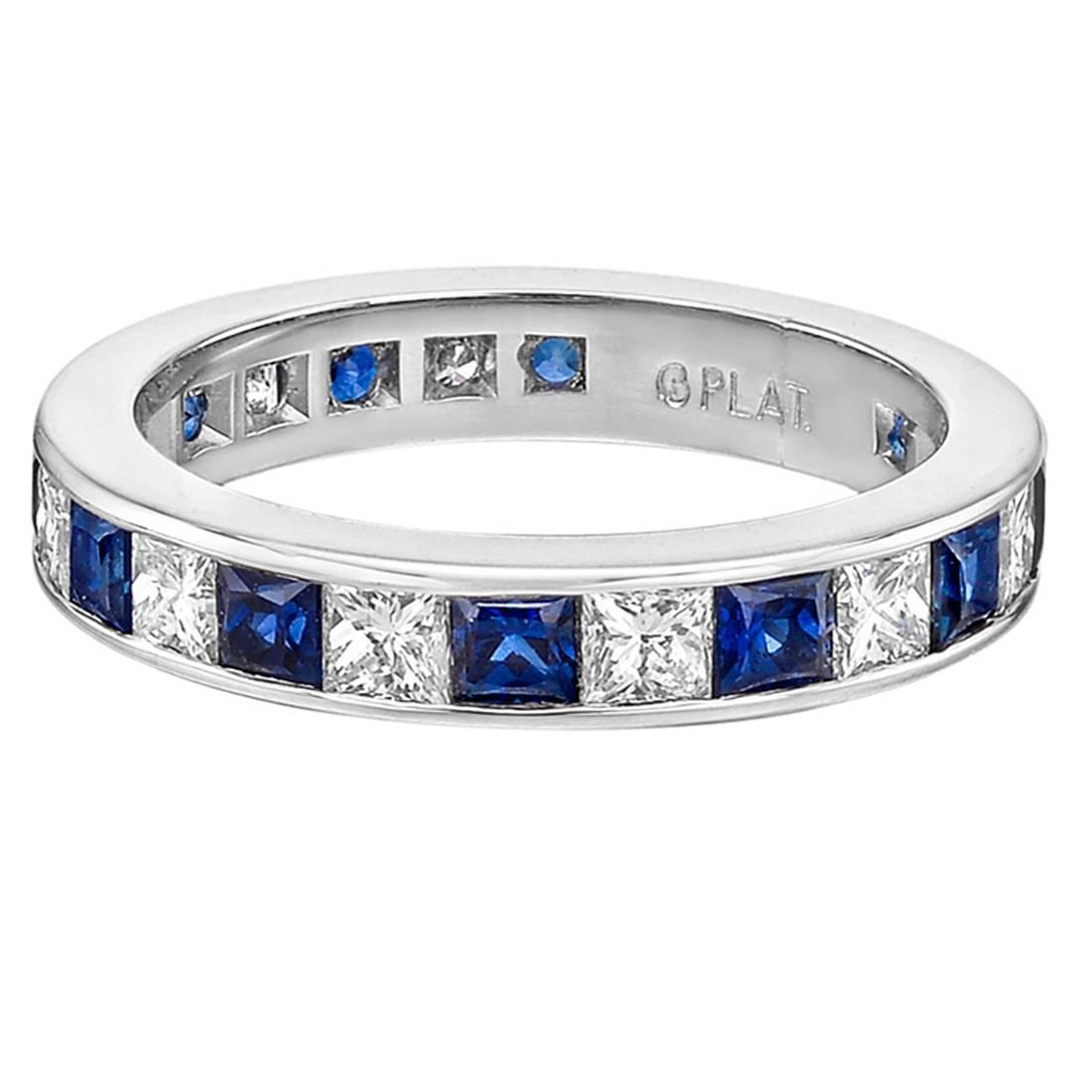 stone shared blue in diamond set band yellow gold anniversary bands with yg jewelry wedding white nl sapphire round prong