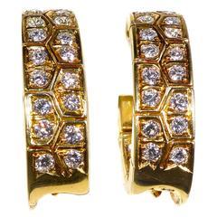 Van Cleef & Arpels Diamond Gold Hoop Earrings