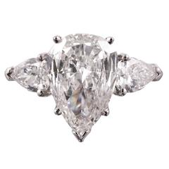 3.52 Carat Pear Diamond Platinum Three Stone Ring