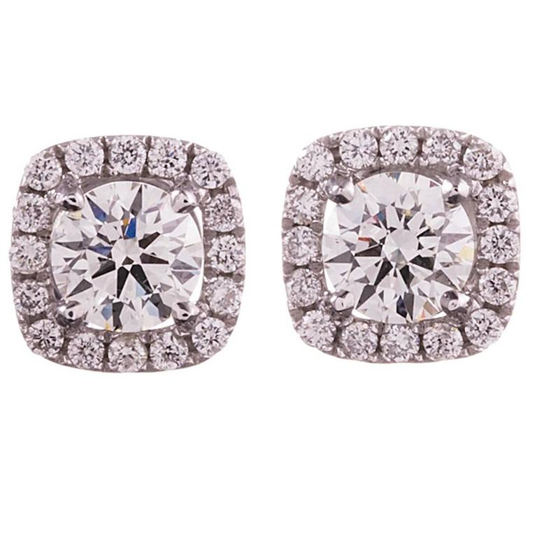 Diamond Gold Cluster Stud Earrings For Sale