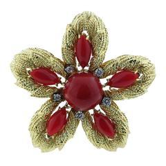 Wonderful Oxblood Coral Diamond Gold Brooch Pendant