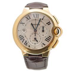 Cartier Yellow Gold Ballon Bleu XL Chronograph Automatic Wristwatch