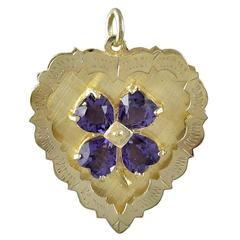 Amethyst Gold Clover and Heart Charm