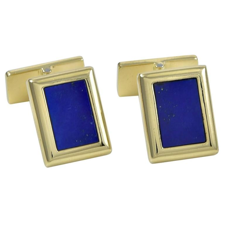 Chaumet Paris Lapis Gold Cufflinks
