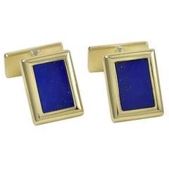 Chaumet Paris Lapis Gold Cufflinks