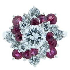 Pretty Ruby Diamond Platinum Pinwheel Ring